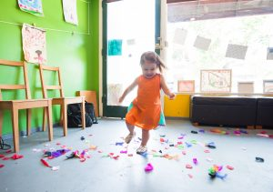 Girl running in daycare