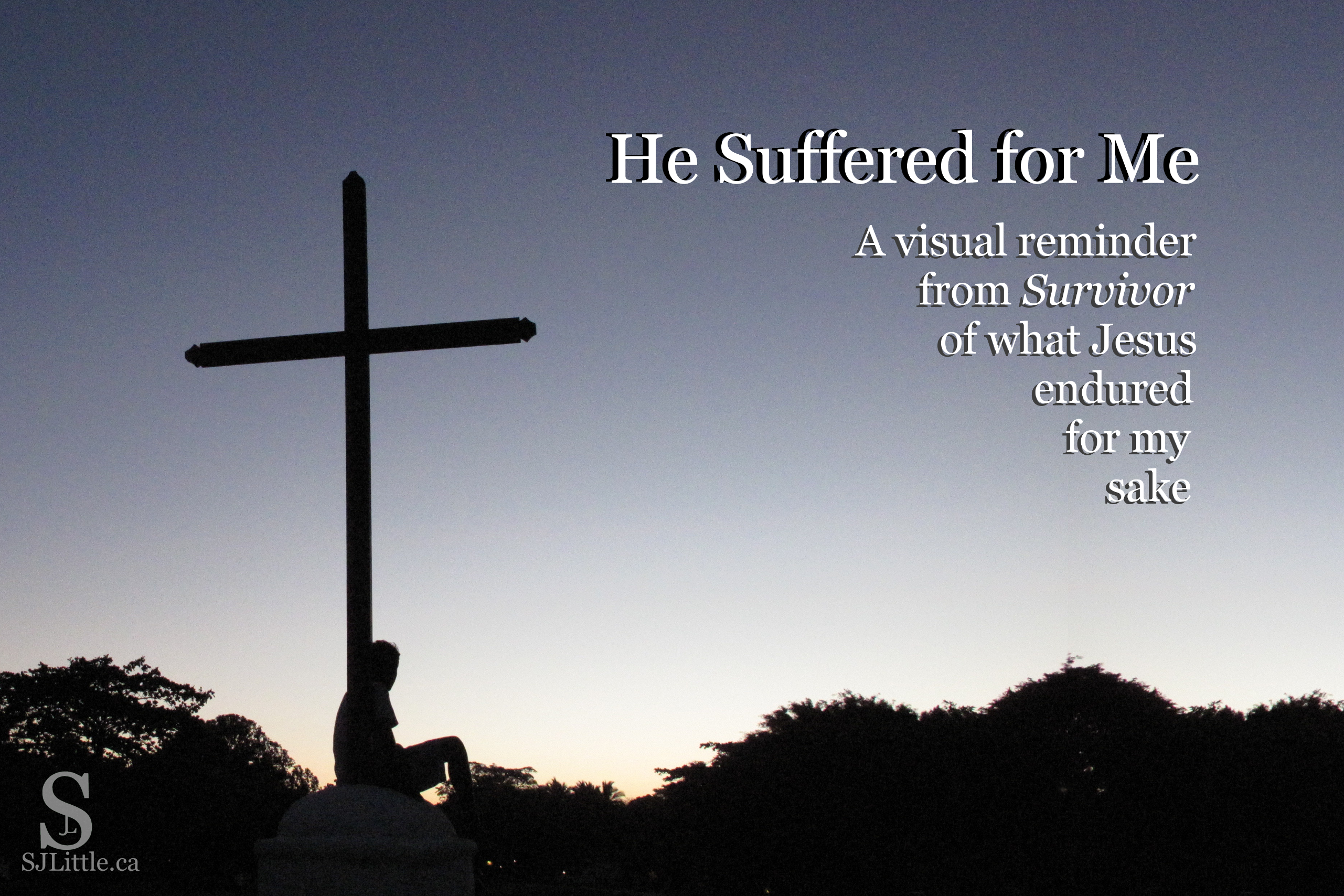 He Suffered for Me written on shadow of a cross