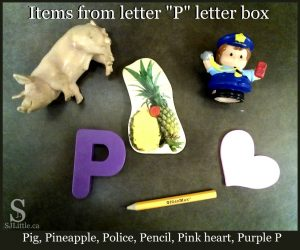 "Items to put in a letter box for letter ""P"" - pig, police, pencil, pineapple, pink heart, purple P"