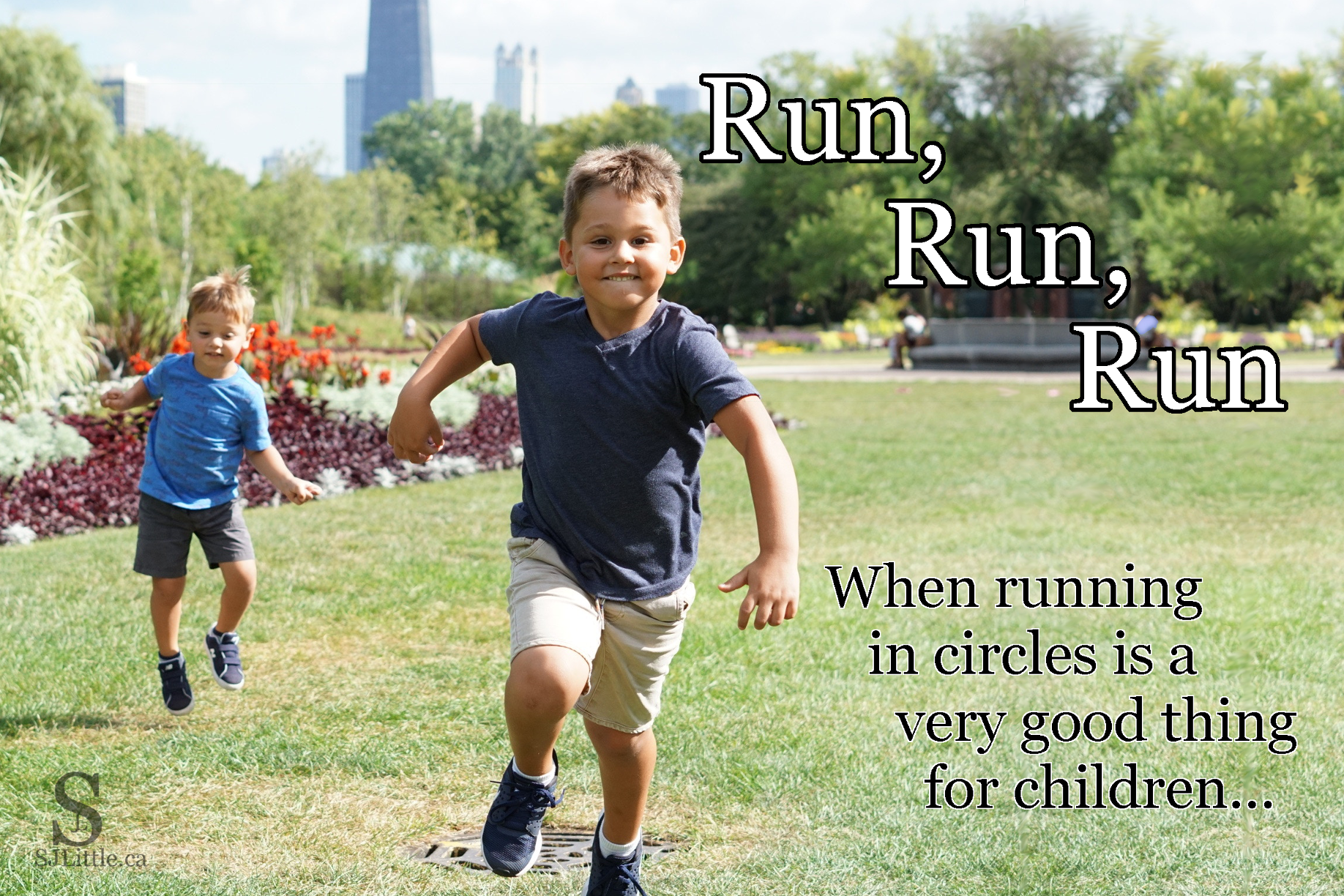 Boys running outside