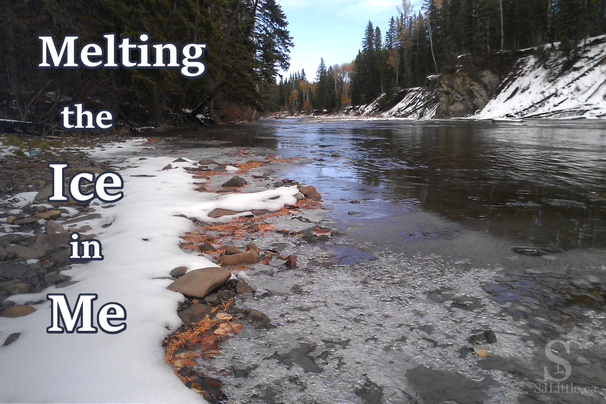 River with ice melting along the banks. God is working to melt the ice in me. S. J. Little