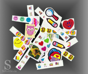 Strips of stickers ready to be used by preschoolers.
