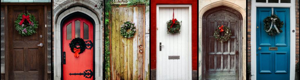 Doors with Christmas wreaths