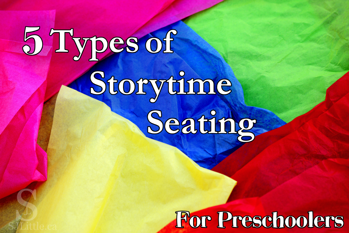"Title ""5 Types of Storytime Seating"" on colourful background"
