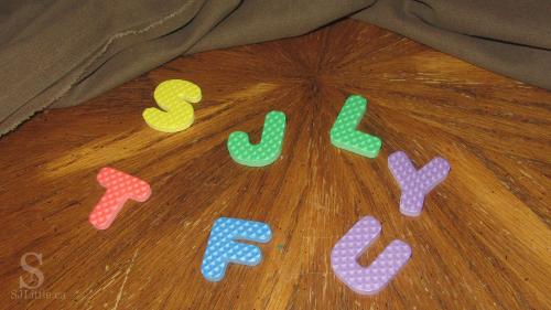 Foam letters under blanket