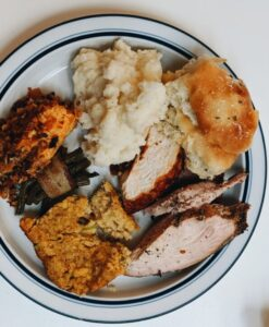Turkey dinner on a plate
