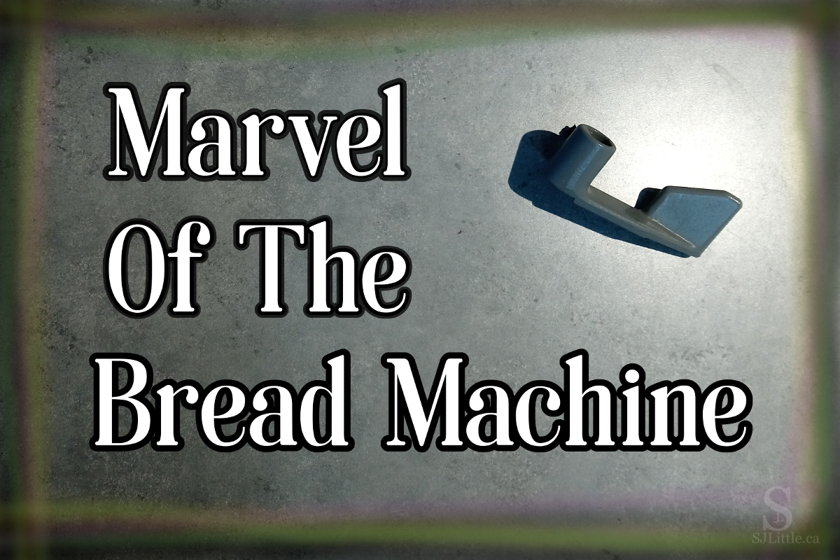 """Picture of a bread machine paddle with title: """"Marvel of the Bread Machine"""""""