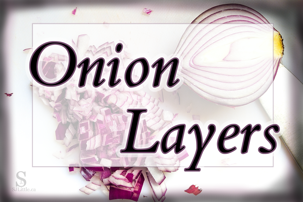 A freshly cut onion with the title: Onion Layers