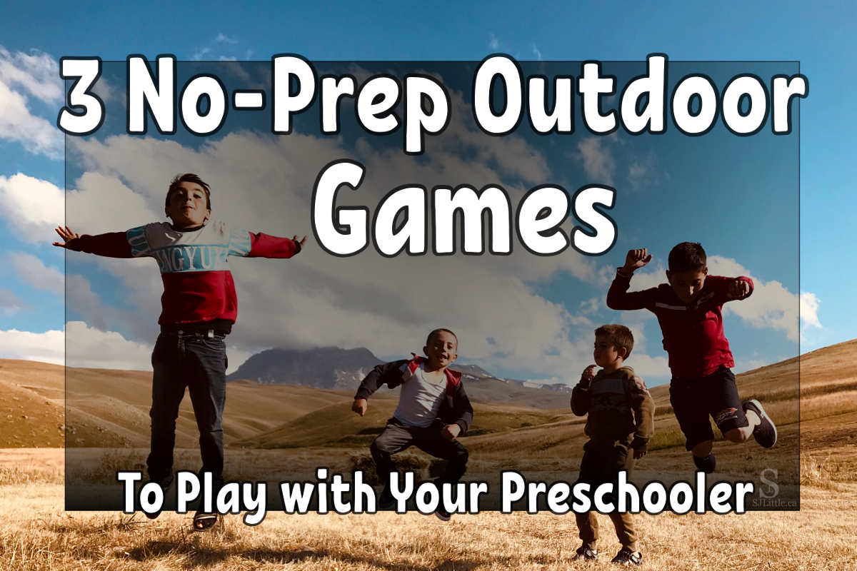 """Children jumping and title """"3 No-Prep Outdoor Game to Play with Your Preschooler"""""""