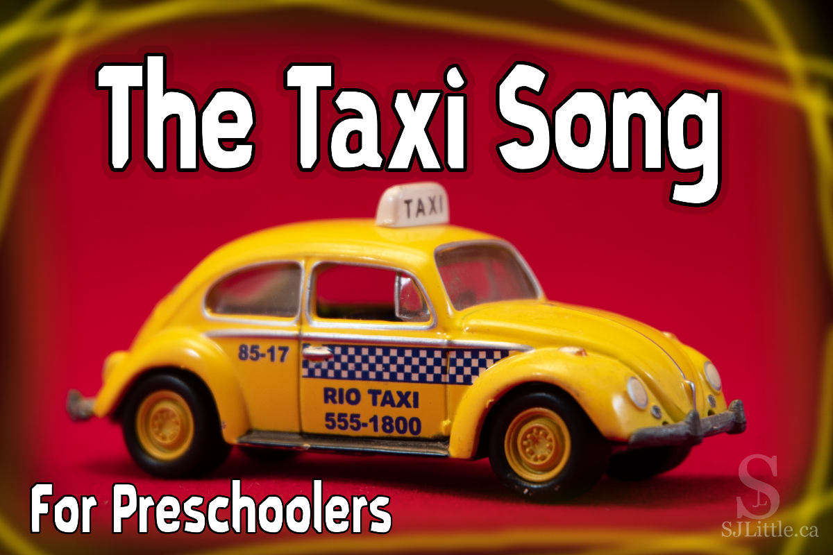 Toy taxi with title: The Taxi Song