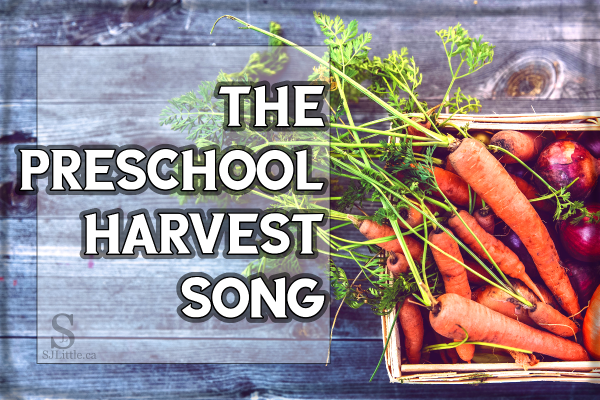 Just harvested carrots and onions behind title: The Preschool Harvest Song